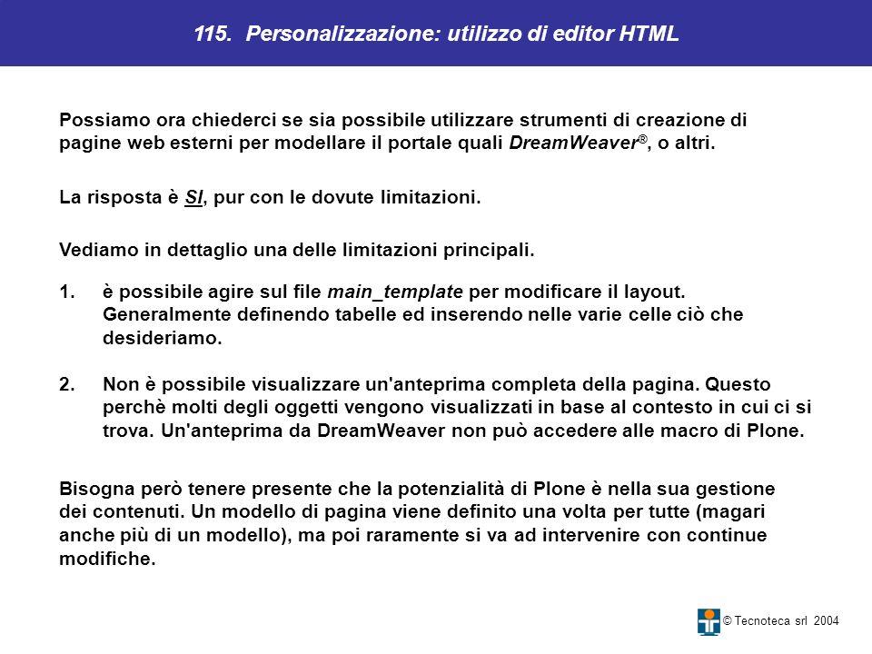 115. Personalizzazione: utilizzo di editor HTML
