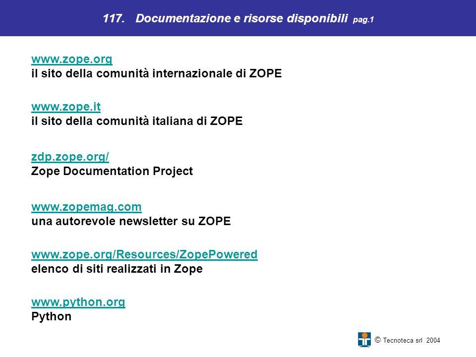 117. Documentazione e risorse disponibili pag.1