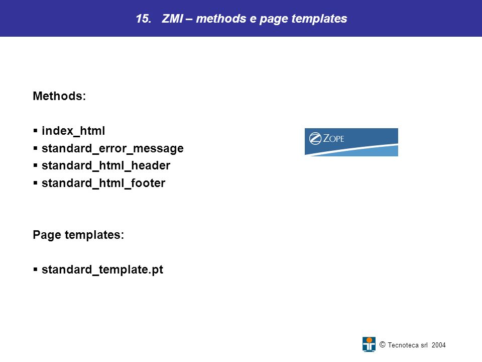 15. ZMI – methods e page templates