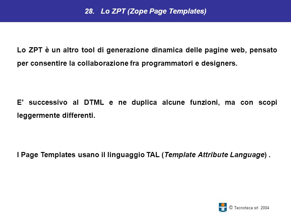 28. Lo ZPT (Zope Page Templates)