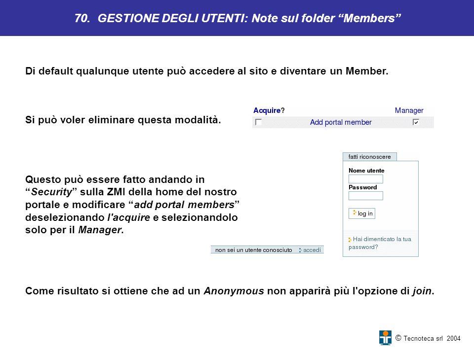 70. GESTIONE DEGLI UTENTI: Note sul folder Members