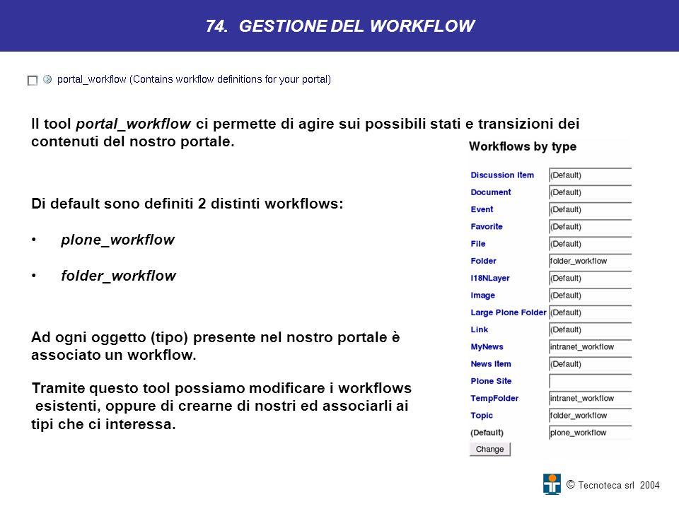 74. GESTIONE DEL WORKFLOW Il tool portal_workflow ci permette di agire sui possibili stati e transizioni dei.