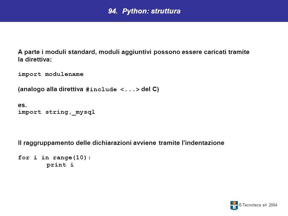 94. Python: struttura A parte i moduli standard, moduli aggiuntivi possono essere caricati tramite.