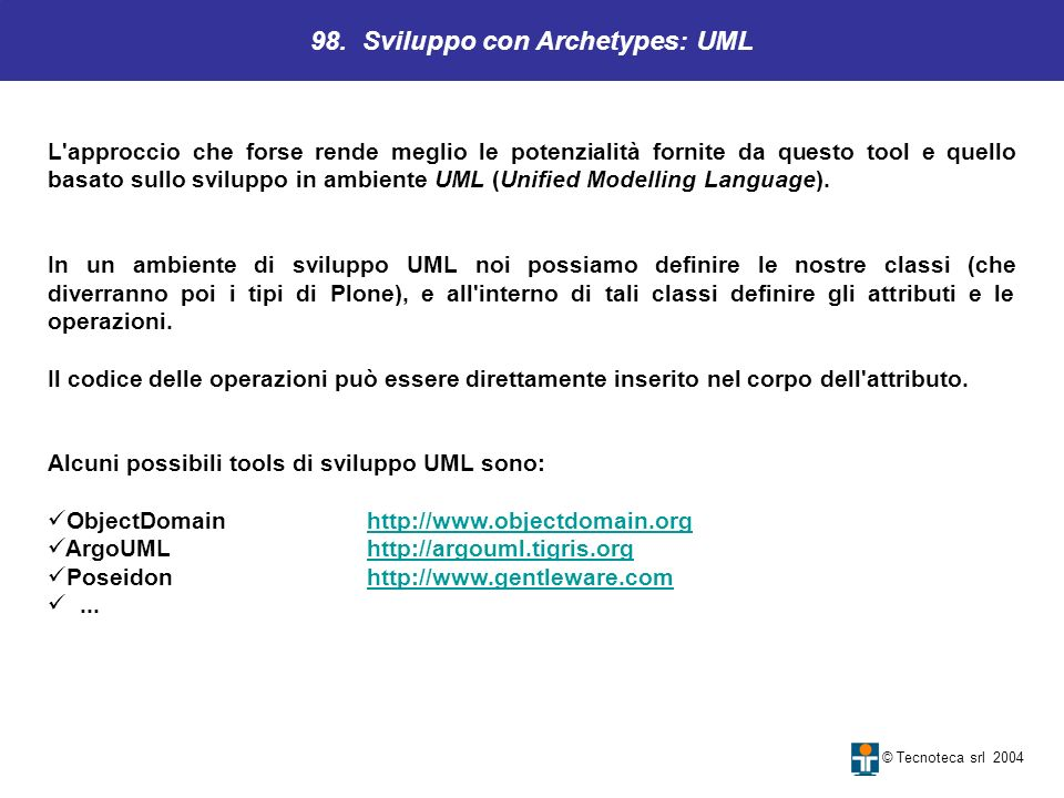 98. Sviluppo con Archetypes: UML