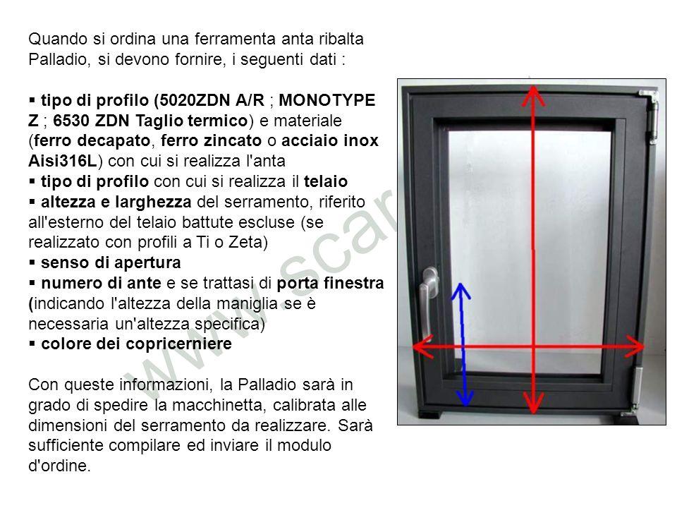 Quando si ordina una ferramenta anta ribalta Palladio, si devono fornire, i seguenti dati :