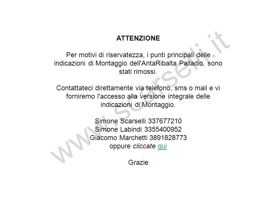 ATTENZIONE Per motivi di riservatezza, i punti principali delle indicazioni di Montaggio dell AntaRibalta Palladio, sono stati rimossi.
