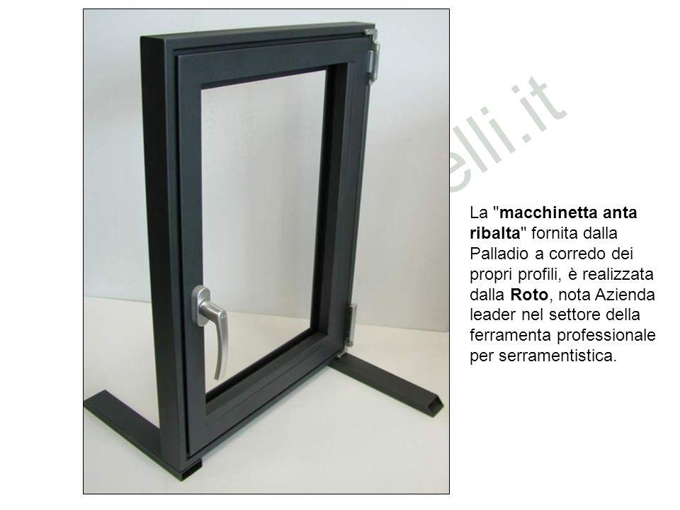 La macchinetta anta ribalta fornita dalla Palladio a corredo dei propri profili, è realizzata dalla Roto, nota Azienda leader nel settore della ferramenta professionale per serramentistica.