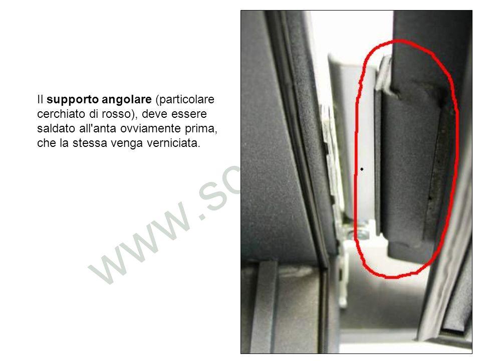 Il supporto angolare (particolare cerchiato di rosso), deve essere saldato all anta ovviamente prima, che la stessa venga verniciata.
