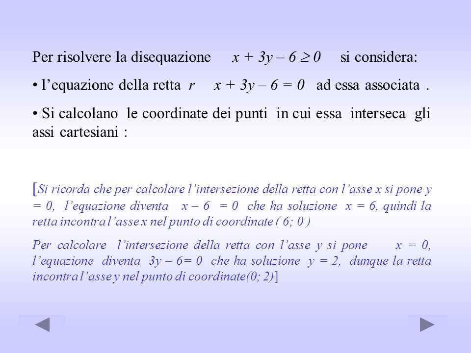 Per risolvere la disequazione x + 3y – 6  0 si considera: