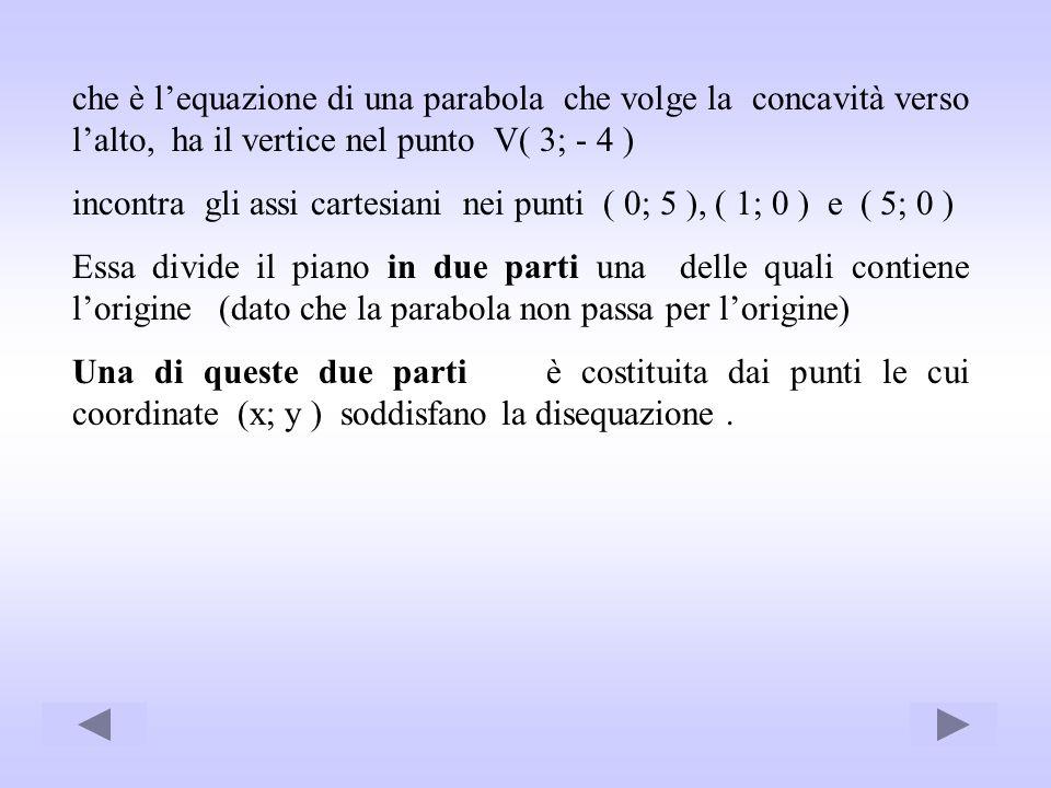che è l'equazione di una parabola che volge la concavità verso l'alto, ha il vertice nel punto V( 3; - 4 )