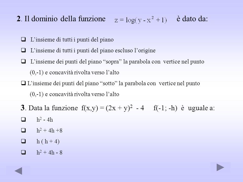 2. Il dominio della funzione è dato da: