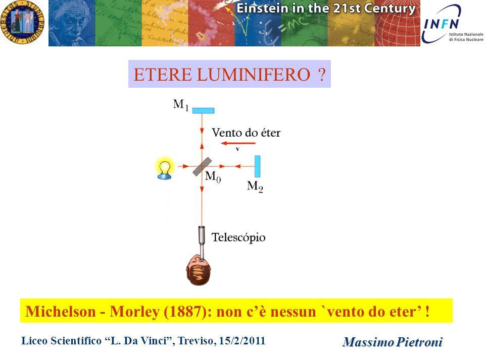 ETERE LUMINIFERO Michelson - Morley (1887): non c'è nessun `vento do eter' ! Liceo Scientifico L. Da Vinci , Treviso, 15/2/2011.