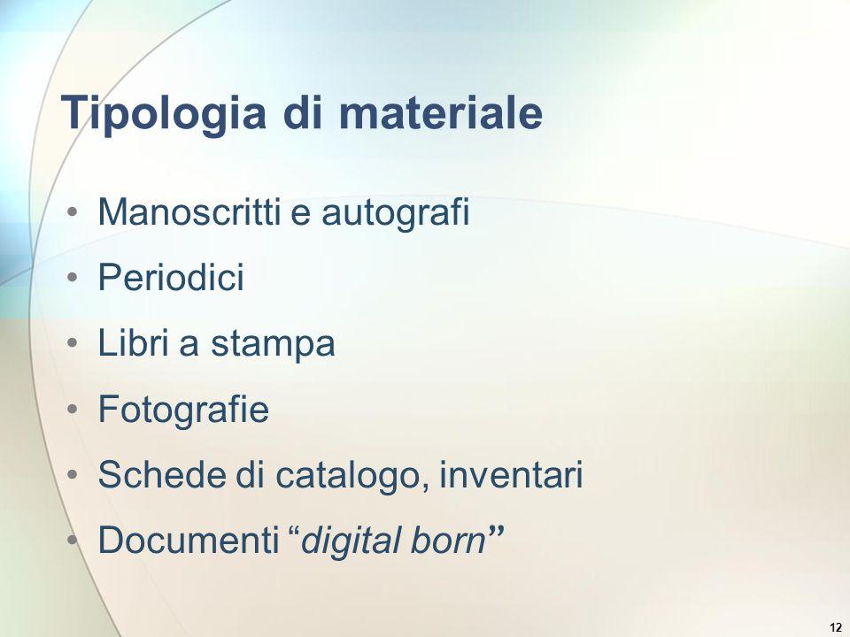 Tipologia di materiale