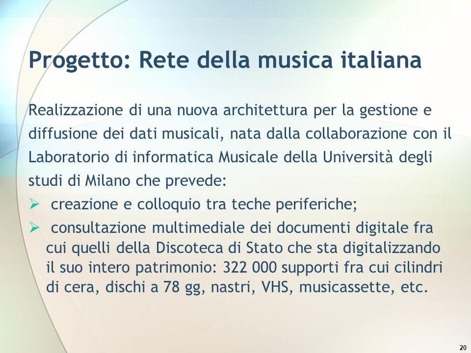 Progetto: Rete della musica italiana