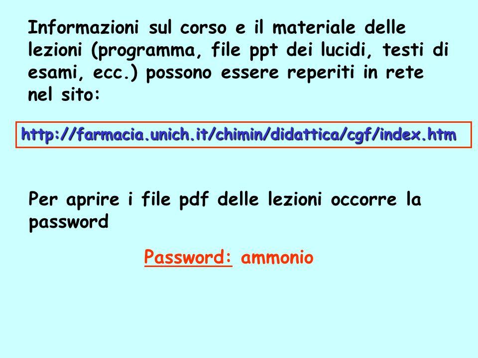 Per aprire i file pdf delle lezioni occorre la password