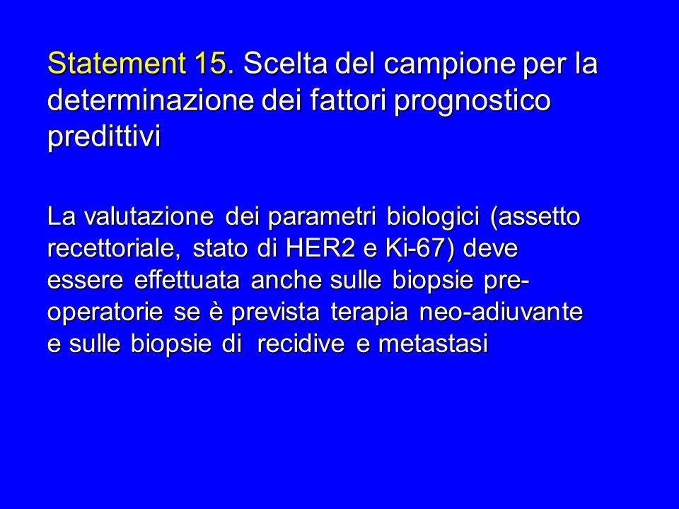 Statement 15. Scelta del campione per la determinazione dei fattori prognostico predittivi