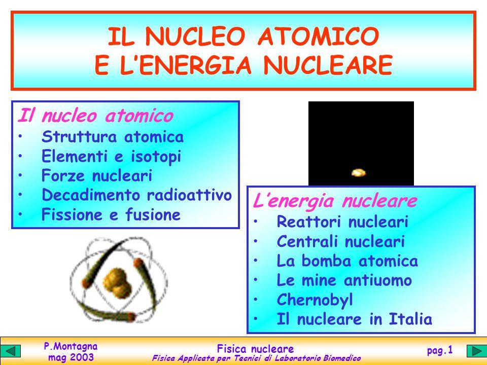 IL NUCLEO ATOMICO E L'ENERGIA NUCLEARE