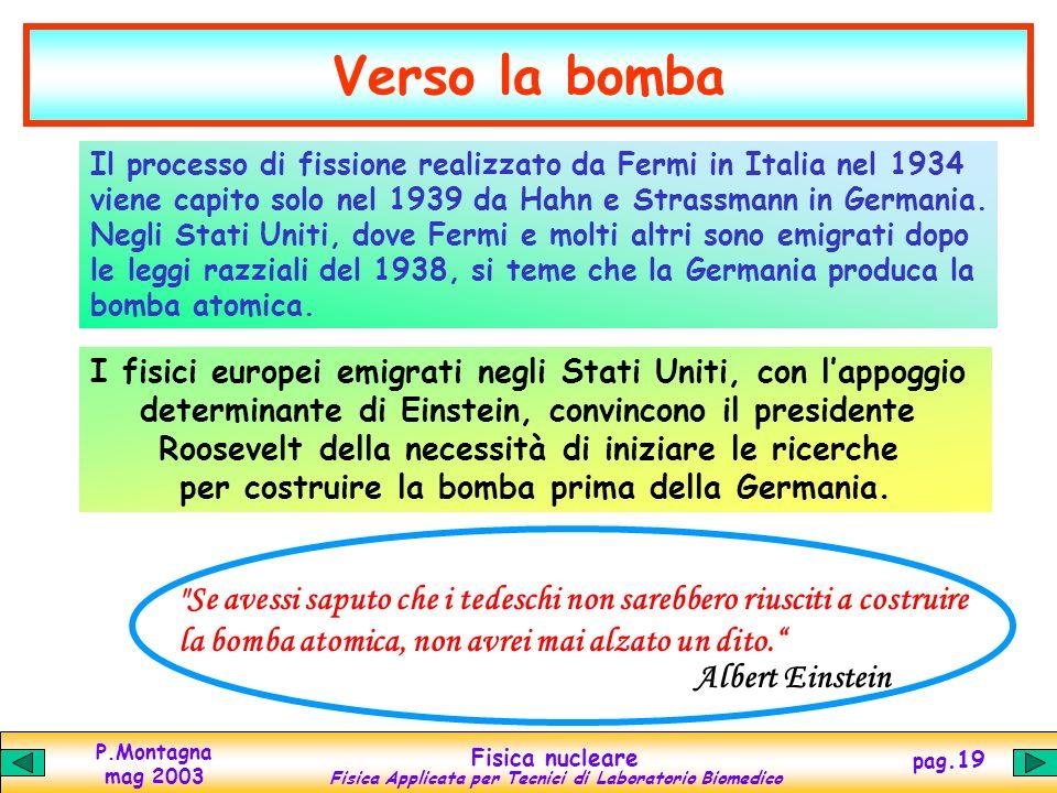 Verso la bomba Il processo di fissione realizzato da Fermi in Italia nel 1934. viene capito solo nel 1939 da Hahn e Strassmann in Germania.