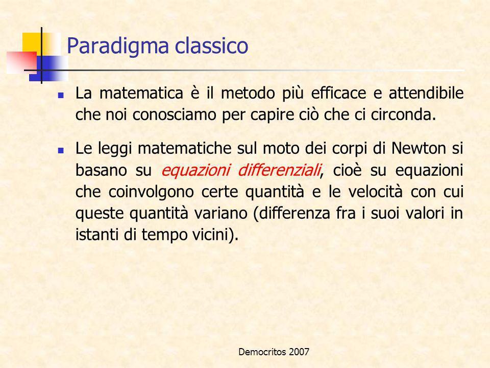 Paradigma classico La matematica è il metodo più efficace e attendibile che noi conosciamo per capire ciò che ci circonda.