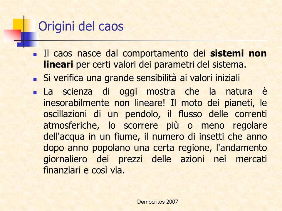 Origini del caos Il caos nasce dal comportamento dei sistemi non lineari per certi valori dei parametri del sistema.