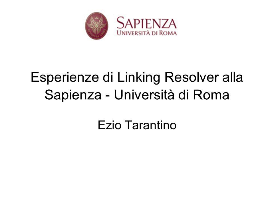 Esperienze di Linking Resolver alla Sapienza - Università di Roma