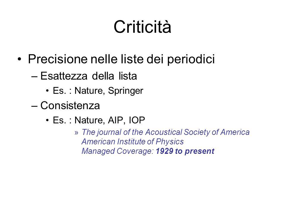 Criticità Precisione nelle liste dei periodici Esattezza della lista