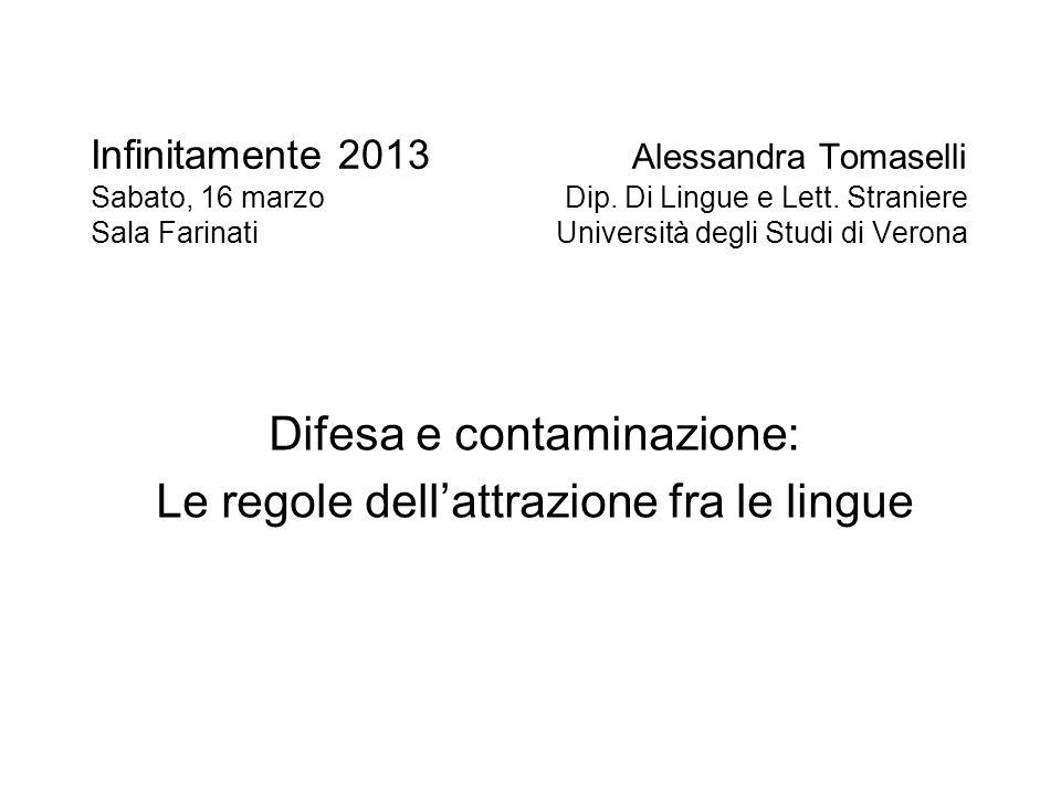 Difesa e contaminazione: Le regole dell'attrazione fra le lingue