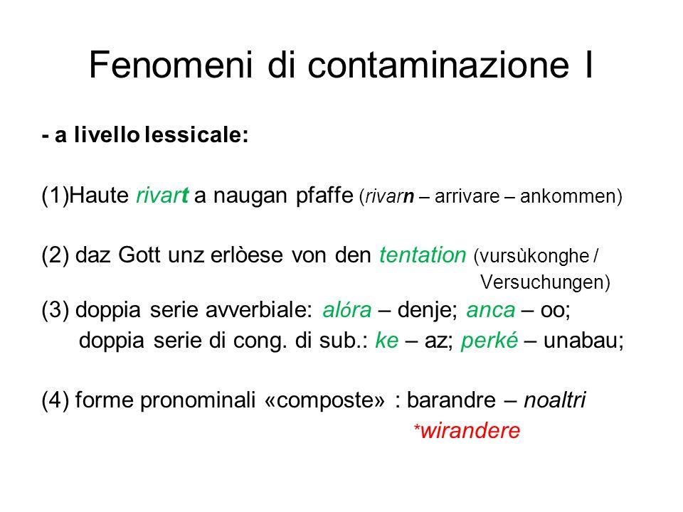 Fenomeni di contaminazione I