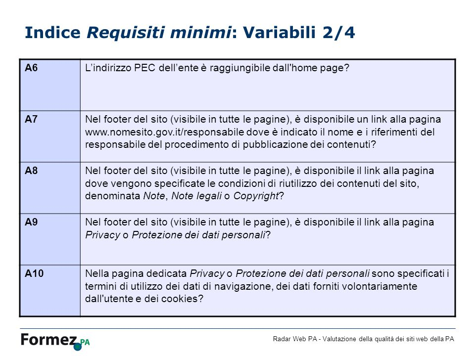 Indice Requisiti minimi: Variabili 2/4