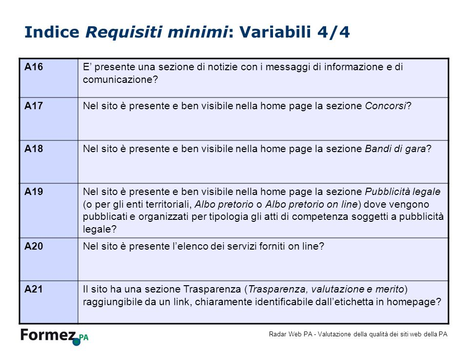 Indice Requisiti minimi: Variabili 4/4