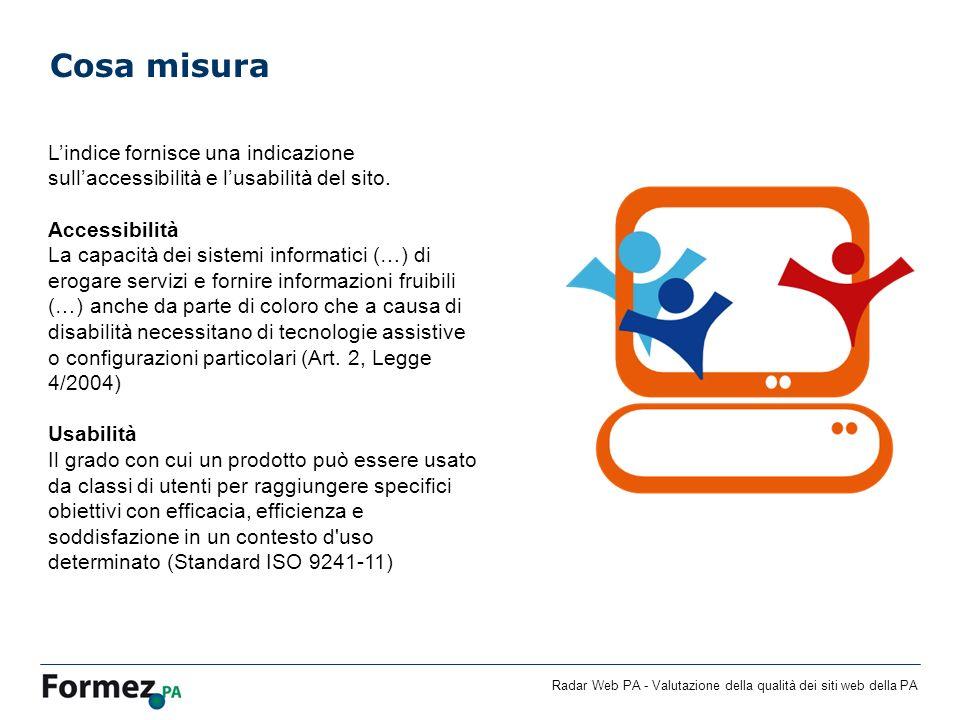 Cosa misura L'indice fornisce una indicazione sull'accessibilità e l'usabilità del sito. Accessibilità.