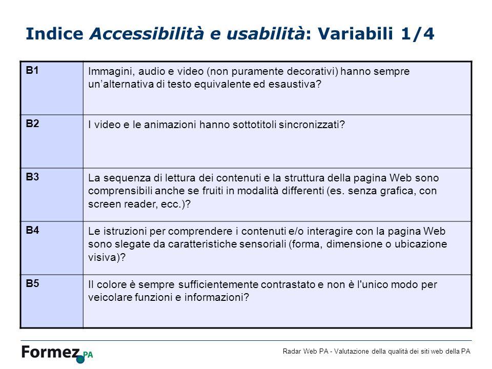 Indice Accessibilità e usabilità: Variabili 1/4