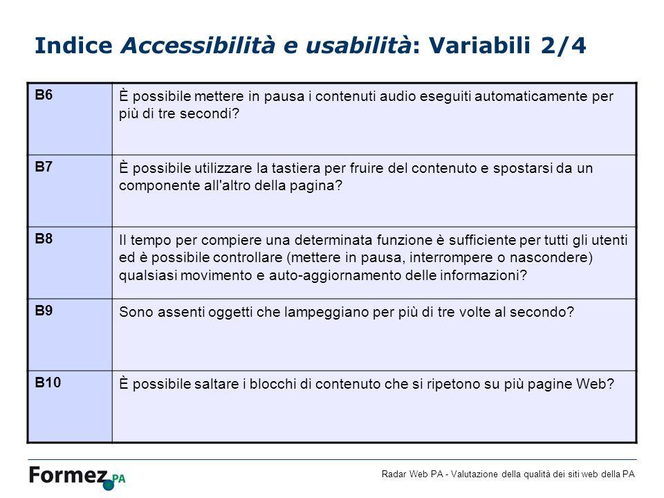 Indice Accessibilità e usabilità: Variabili 2/4