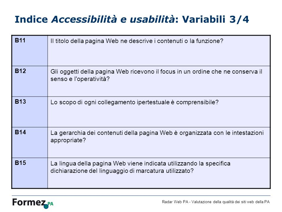 Indice Accessibilità e usabilità: Variabili 3/4