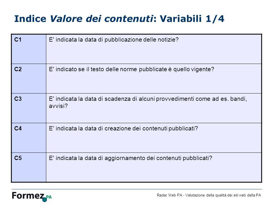 Indice Valore dei contenuti: Variabili 1/4