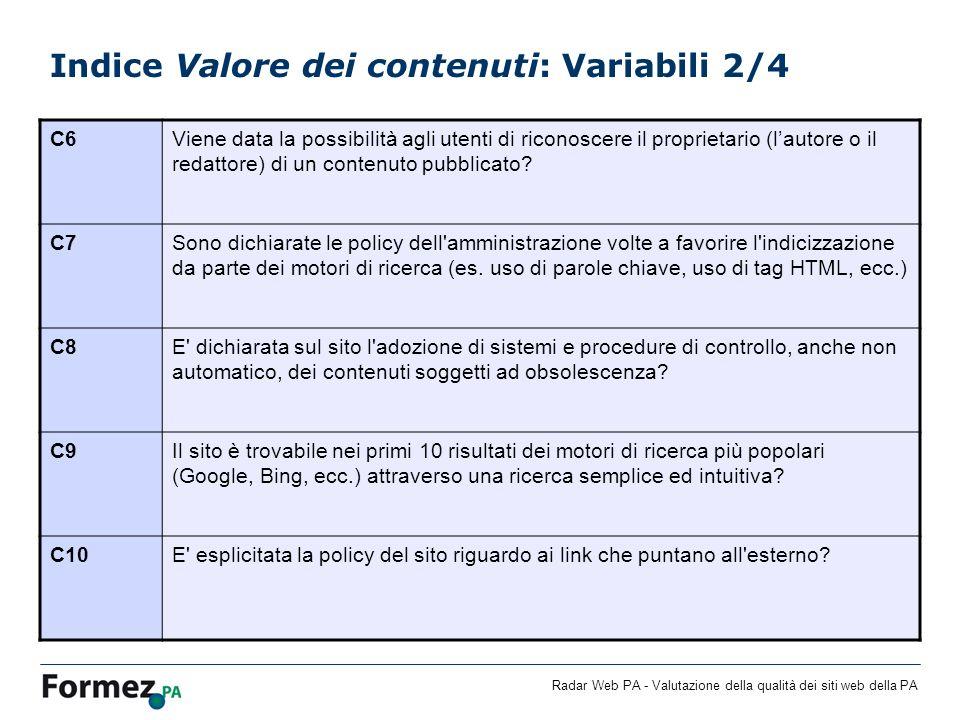 Indice Valore dei contenuti: Variabili 2/4