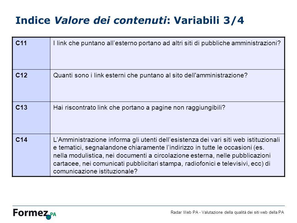 Indice Valore dei contenuti: Variabili 3/4