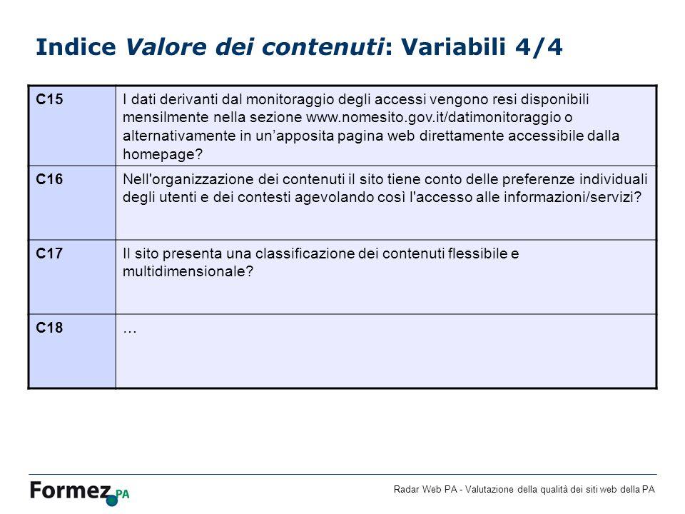 Indice Valore dei contenuti: Variabili 4/4