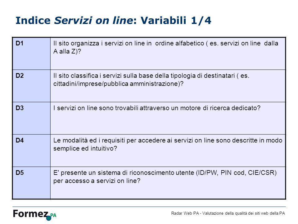 Indice Servizi on line: Variabili 1/4