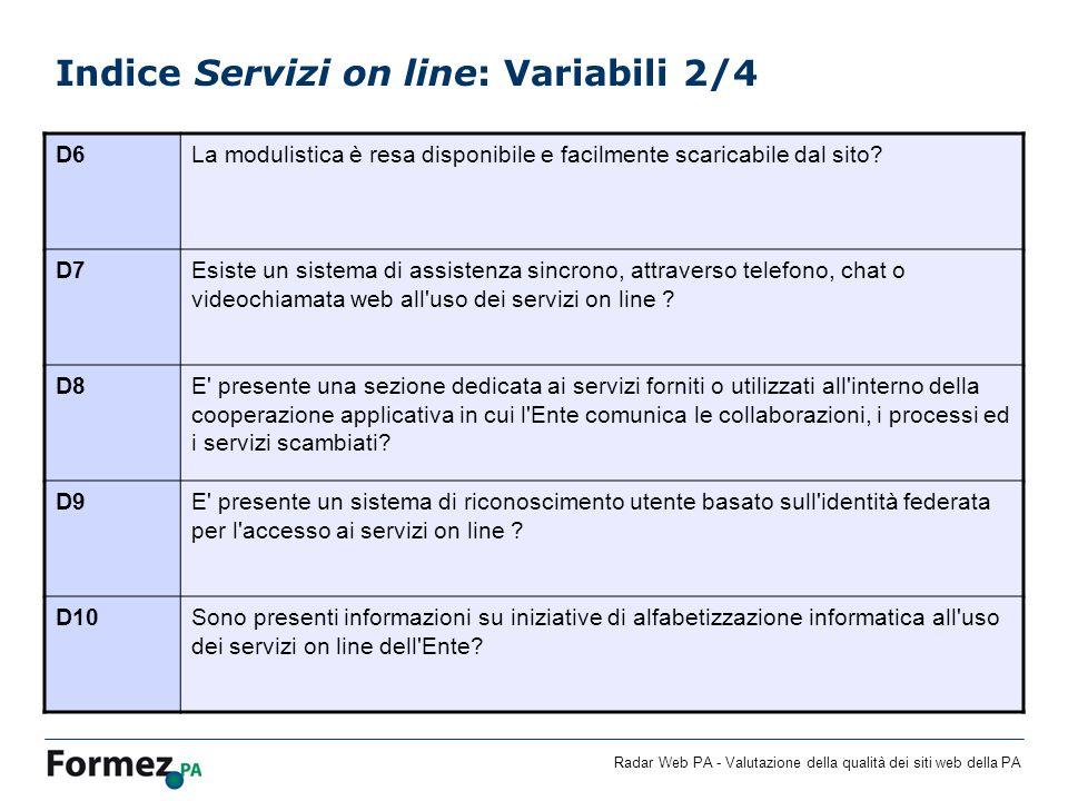 Indice Servizi on line: Variabili 2/4