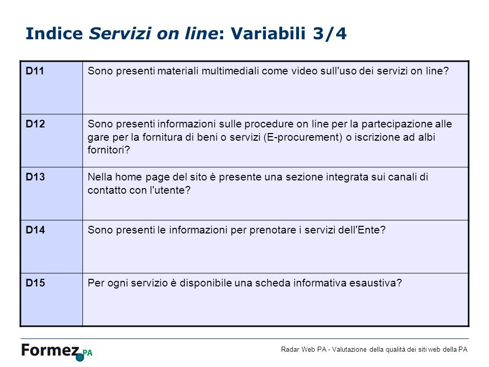 Indice Servizi on line: Variabili 3/4