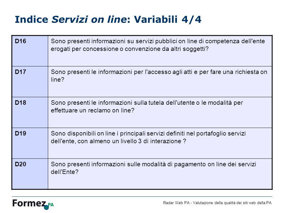 Indice Servizi on line: Variabili 4/4