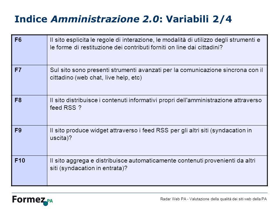 Indice Amministrazione 2.0: Variabili 2/4