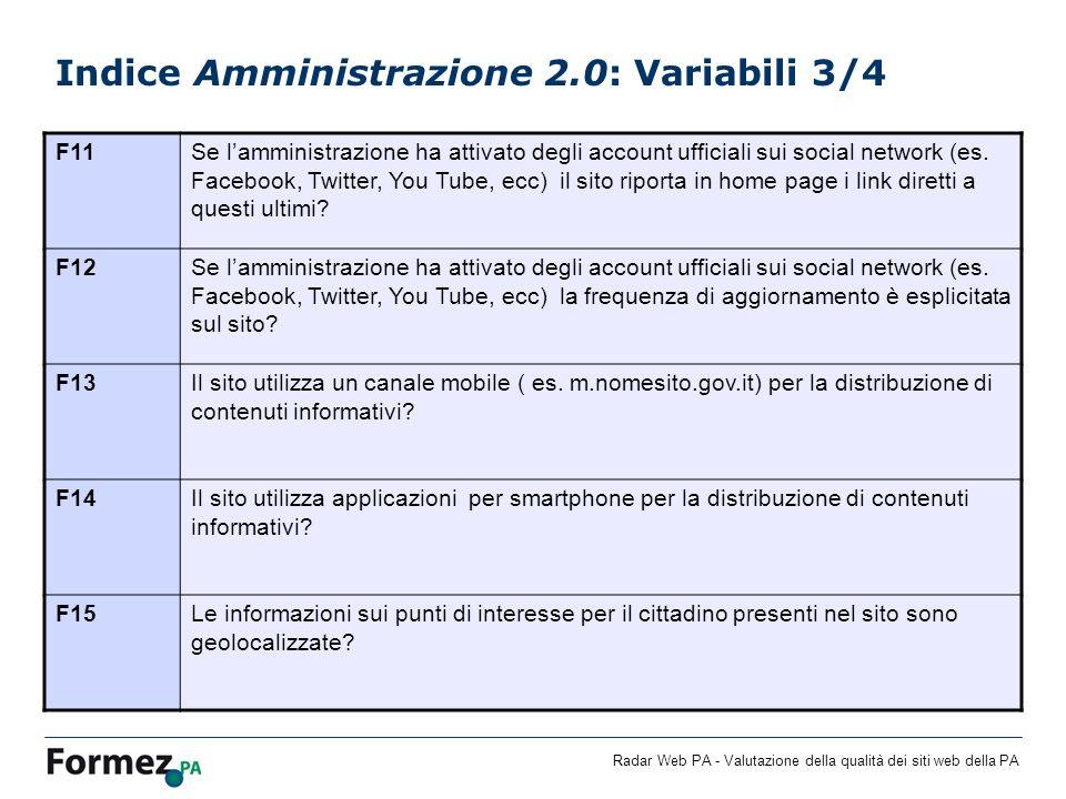 Indice Amministrazione 2.0: Variabili 3/4