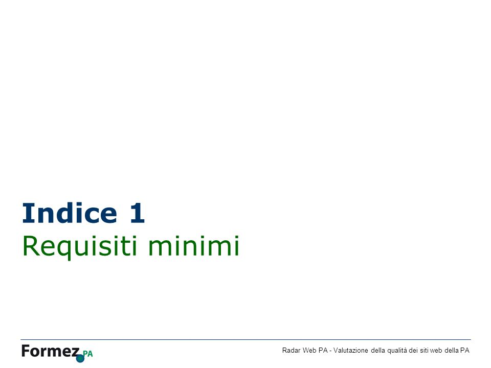 Indice 1 Requisiti minimi