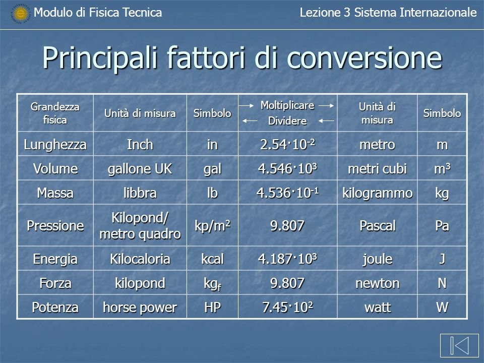 Lezione n 3 modulo di fisica tecnica il sistema - Conversione unita di misura portata ...