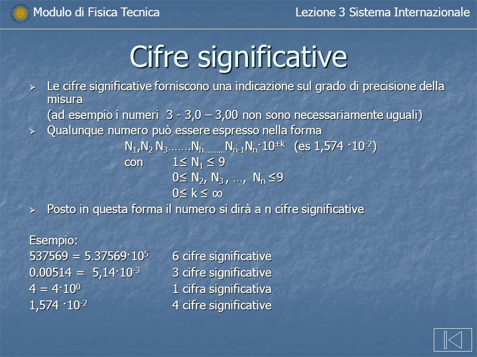 Cifre significative Le cifre significative forniscono una indicazione sul grado di precisione della misura.