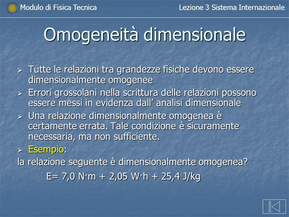 Omogeneità dimensionale