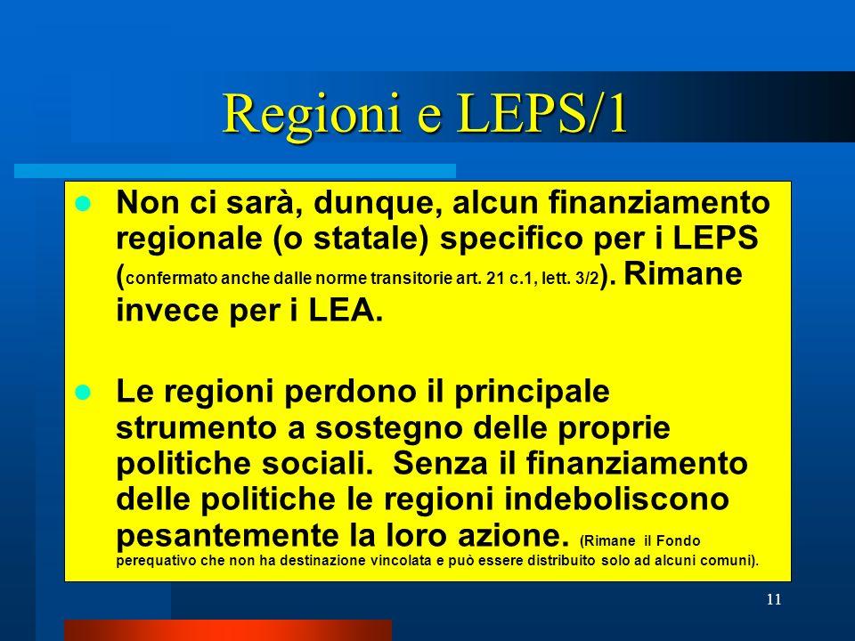 Regioni e LEPS/1