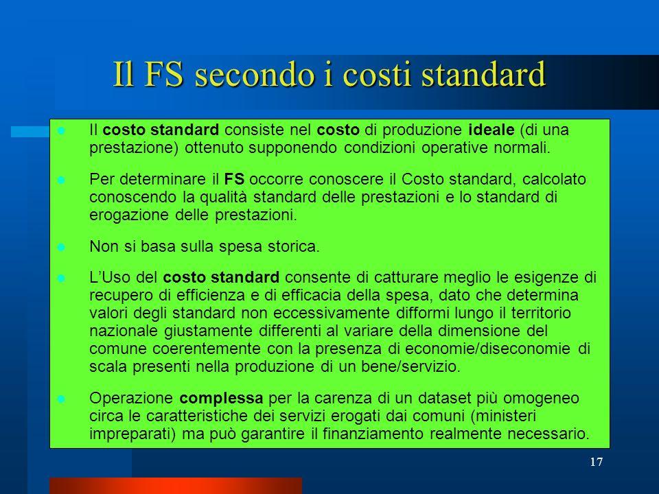 Il FS secondo i costi standard